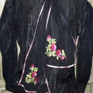 """VTG """"APRIL CORNELL"""" BLACK SCARF WITH EMBROIDERY!"""